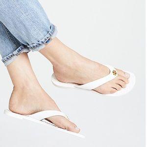 Tory Burch Monroe White Leather Thong Sandal